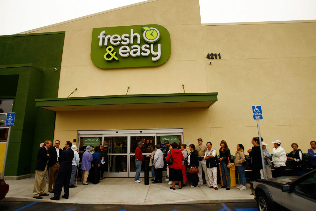 This was one of the first 16 stores that Fresh & Easy opened in the U.S., and this was — and still is — in Los Angeles. But now the British-owned chain, after a $1.6 billion investment, will likely leave the U.S. market or see its parent, Tesco, sell it.
