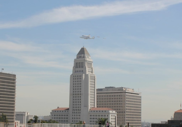 Endeavour over L.A. City Hall