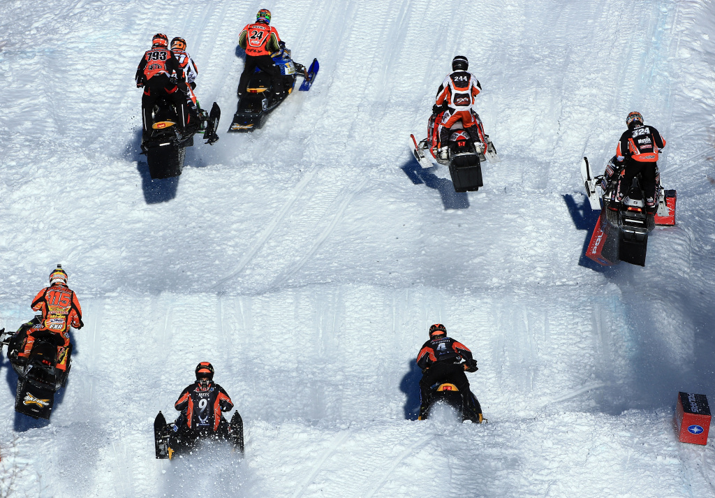 Racers compete in the first round of Snowmobile Snocross at Winter X Games Aspen 2013 at Buttermilk Mountain on January 27, 2013 in Aspen, Colorado.