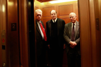 (L-R) Sen. Jim Bunning (R-KY), Sen. Richard Shelby (R-AL), and Sen. Pat Roberts (R-KS) get into an elevator after coming off the Senate floor after a procedural vote on health are reform on December 21, 2009 in Washington, DC. The Senate passed the first of three crucial procedural votes on health care by a 60 to 40 margin.