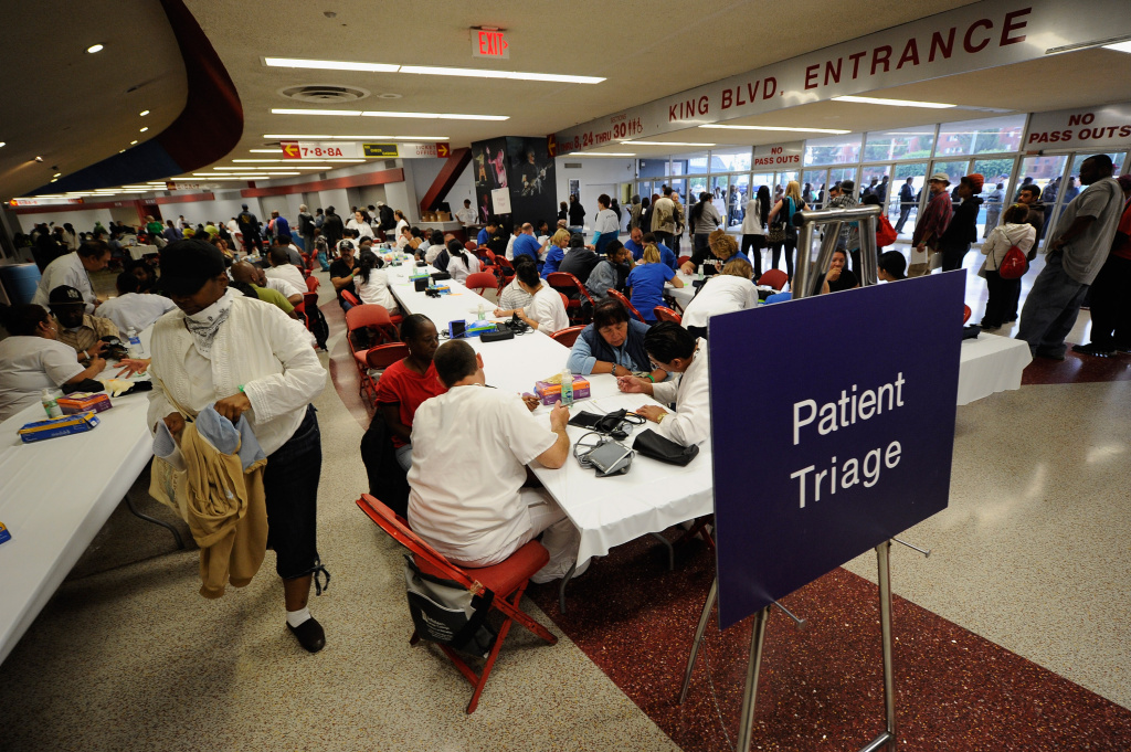 Thousands of uninsured patients attend a free temporary health clinic In Los Angeles.