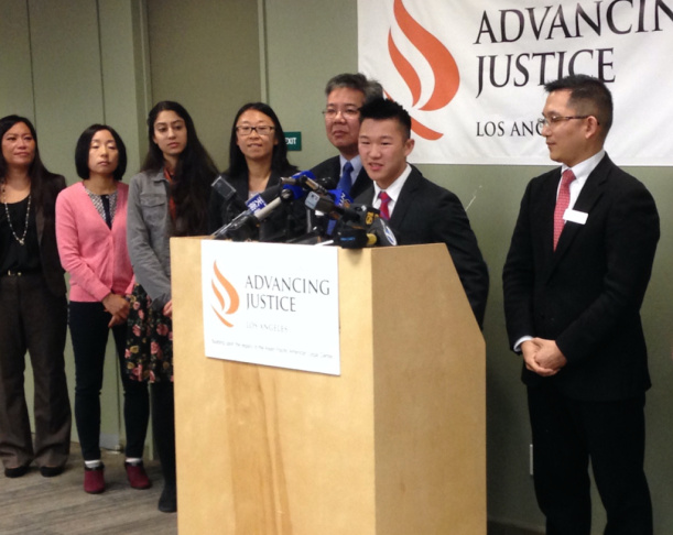 Seventeen-year-old Jason Fong speaks to reporters at Asian Americans Advancing Justice offices in Los Angeles on Dec. 13, 2016. Fong, a high school student who has applied to attend Harvard University, is one of two students joining affirmative action proponents in the legal effort against an anti-affirmative action lawsuit filed against Harvard in 2014.