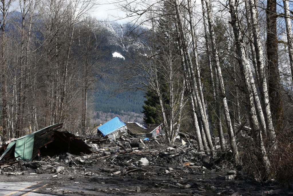 Officials say 14 people have been confirmed dead, and as many as 176 are missing, after a massive wall of mud destroyed a community in Washington State. (Photo by Lindsey Wasson/The Seattle Times-Pool/Getty Images)