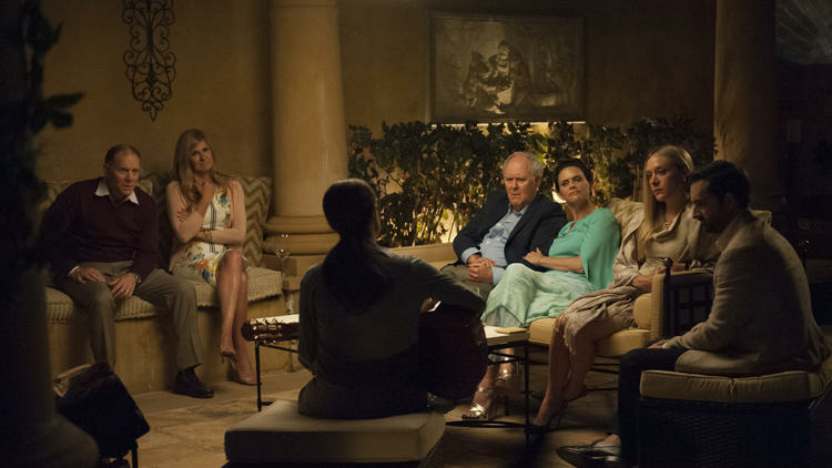 Salma Hayek (back to camera) in background (L-R) David Warshofsky, Connie Britton, John Lithgow, Amy Landecker, Chloë Sevigny, and Jay Duplass in