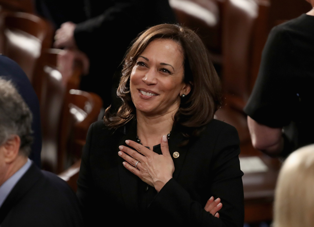 Sen. Kamala Harris (D-CA) greets fellow lawmakers ahead of the State of the Union address in the chamber of the U.S. House of Representatives on February 5, 2019 in Washington, DC.