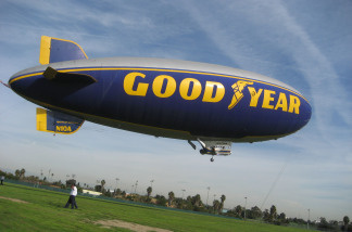The Goodyear Blimp kicks off the year-long Centennial Aviation Day.