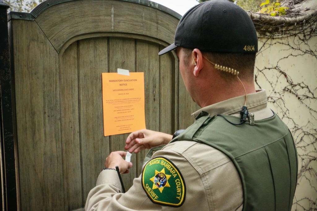 Deputies with the Santa Barbara County Sheriff's Department went door-to-door on Tuesday, March 20, 2018, to notify residents they were under mandatory evacuation due to the incoming storm system.