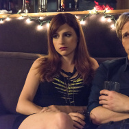 "Aya Cash as Gretchen and Chris Geere as Jimmy in the FXX show, ""You're The Worst."""