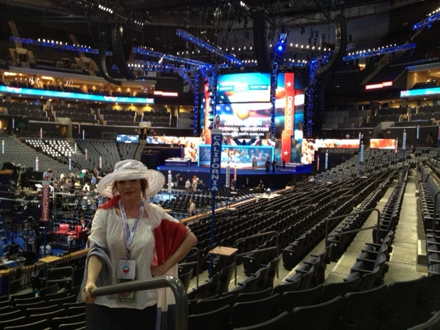 KPCC's Patt Morrison at the Time Warner Cable Arena in Charlotte, North Carolina where the 2012 Democratic National Convention will be held.