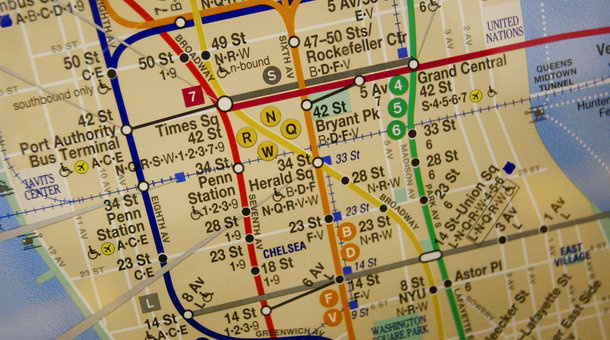 A New York City MTA subway map.