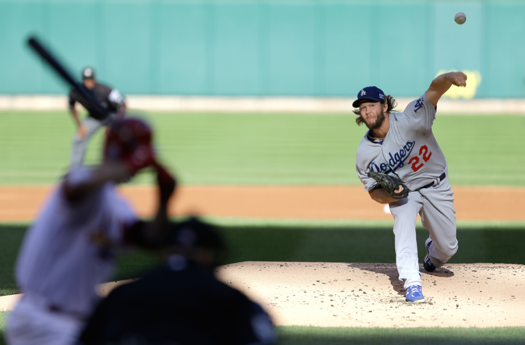 Clayton Kershaw #22 of the Los Angeles Dodgers pitches in the first inning against the St. Louis Cardinals in Game Four of the National League Divison Series at Busch Stadium on Oct. 7, 2014 in St Louis, Missouri.