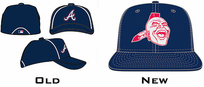 Side-by-side comparison of the old Atlanta Braves logo and the new one.