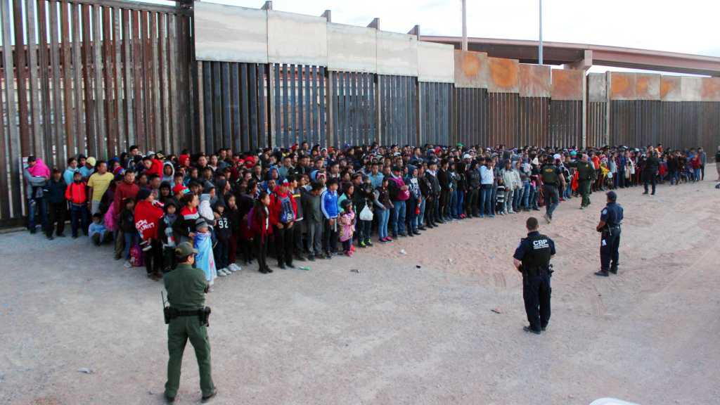 President Trump has announced plans to impose escalating tariffs on goods imported from Mexico in an attempt to stop migrants from entering the U.S. over the southern border. U.S. Customs and Border Protection released this photo, taken on Wednesday at El Paso, Texas.