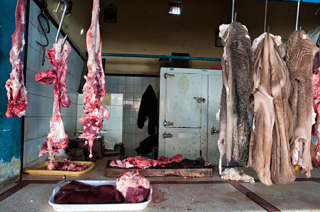 Meat at a butcher's shop in a Moroccan market. Lack of refrigeration contributes to Africa's high rate of foodborne illnesses.