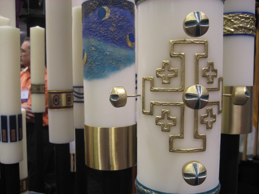 Marklin Candle Design makes its candles by hand.  They're used as part of Roman Catholic religious services.