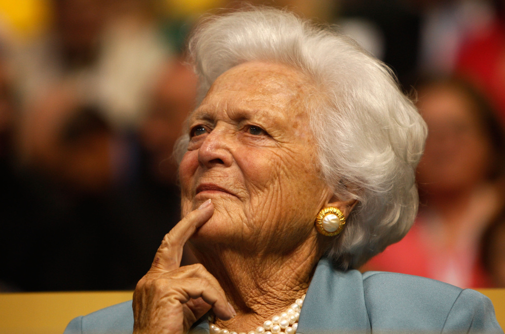 Barbara Bush brought a grandmotherly style to buttoned-down Washington, often appearing in her trademark fake pearl chokers and displaying no vanity about her white hair and wrinkles.