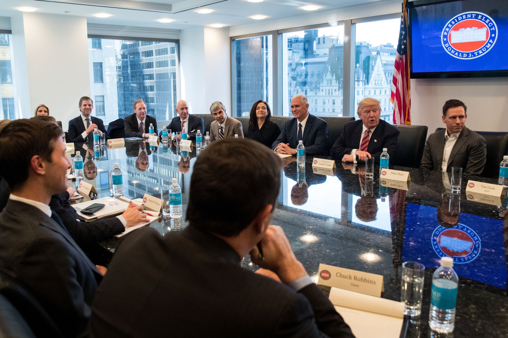 NEW YORK, NY - DECEMBER 14: President-elect Donald Trump and Vice President-elect Mike Pence meet with technology executives at Trump Tower, December 14, 2016 in New York City. This is the first major meeting between President-elect Trump and technology industry leaders. (Photo by Drew Angerer/Getty Images)