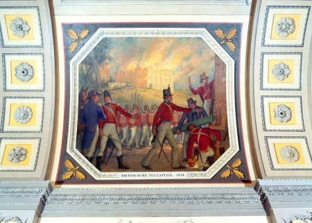 The burning of Washington during the War of 1812 is depicted in a painting that hangs in a corridor of the House side of the United States Capitol.