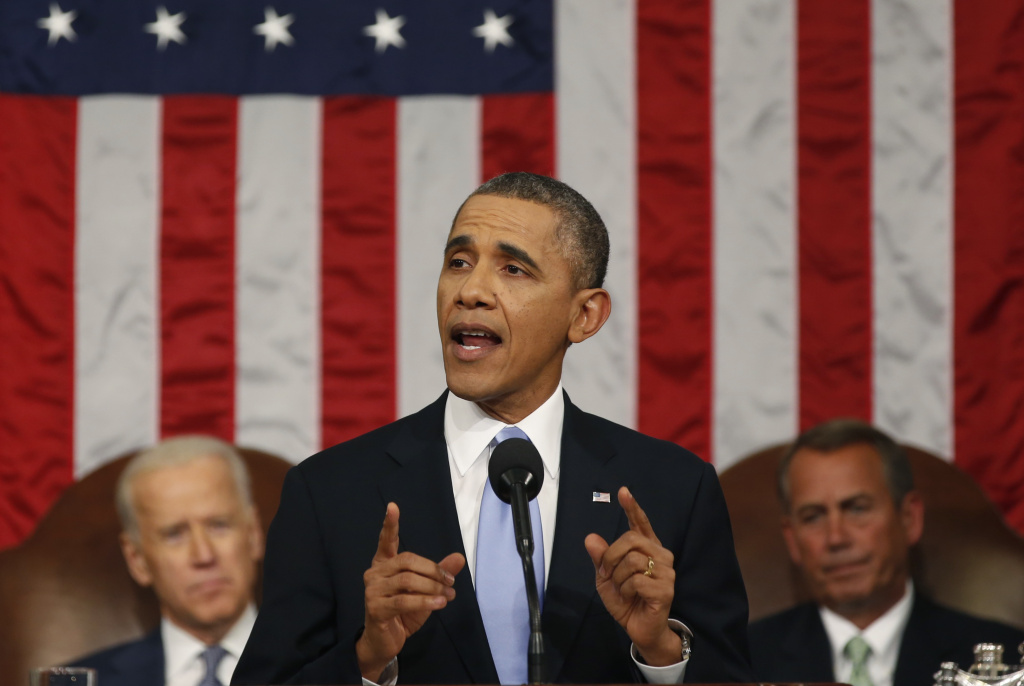 U.S. President Barack Obama delivers his State of the Union speech on Capitol Hill.