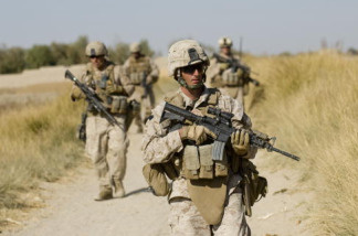 US Marines and the Afghan National Army patrol Helmand Province in Afghanistan on November 19, 2009
