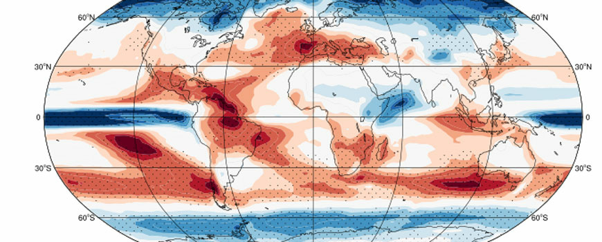 Map of projected change in frequency of dry days (in red).