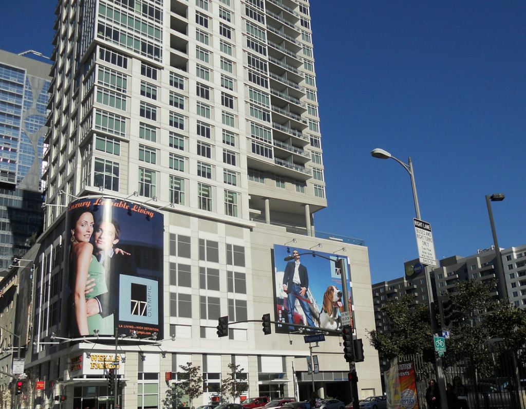 An apartment building in downtown Los Angeles.