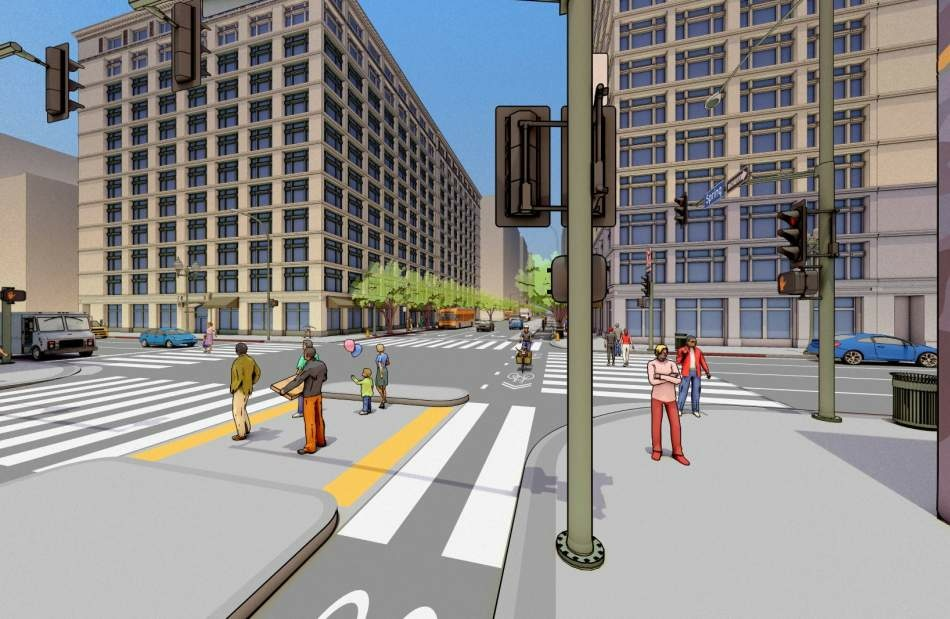 A rendering of the changes expected along Spring St in downtown L.A., to be completed in 2018. The bike lanes will be relocated on the far-left side in the direction of traffic, separated from traffic by a lane of parked cars. Plus, a concrete