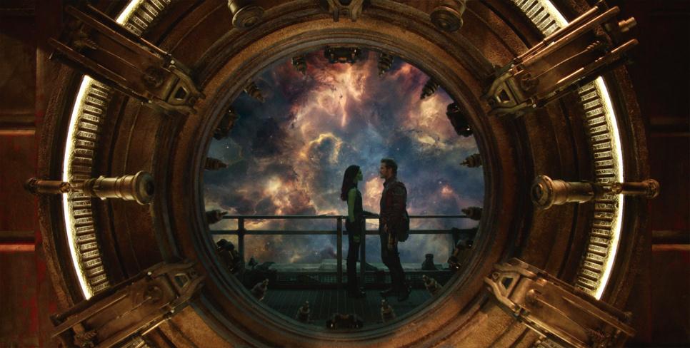Gamora (Zoe Saldana) and Peter Quill (Chris Pratt) in