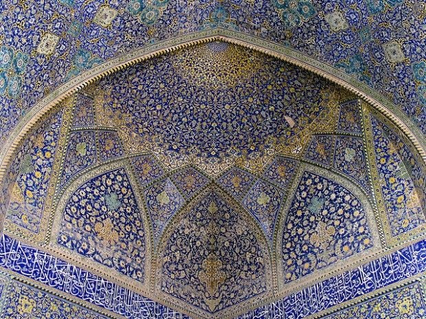 The interior of a mosque in Ishafan, Iran, May 2006