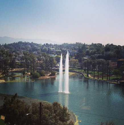 Echo Park Lake fountains were turned on as the multi-year, multi-million dollar rehabilitation project approaches completion.