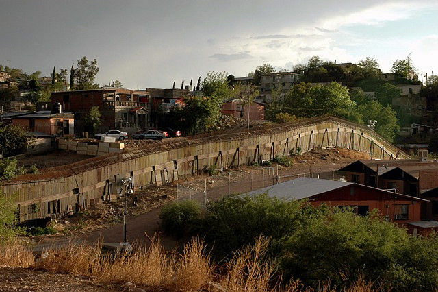 A stretch of fence along the U.S.-Mexico border at Nogales, Arizona, June 2006