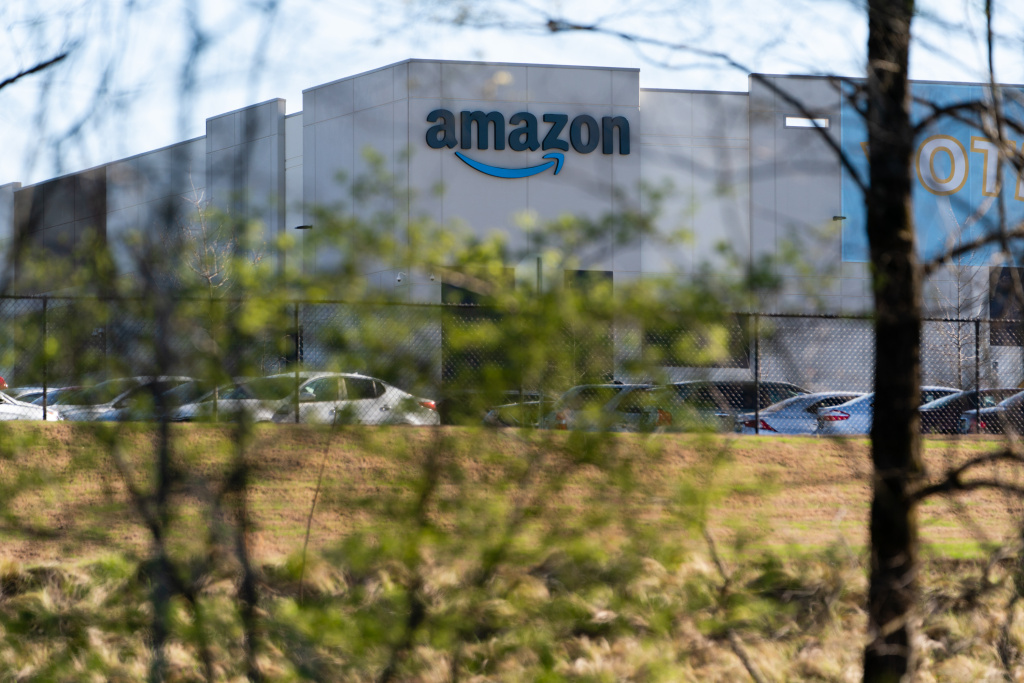 The Amazon fulfillment warehouse at the center of a unionization drive is seen on March 29, 2021 in Bessemer, Alabama.