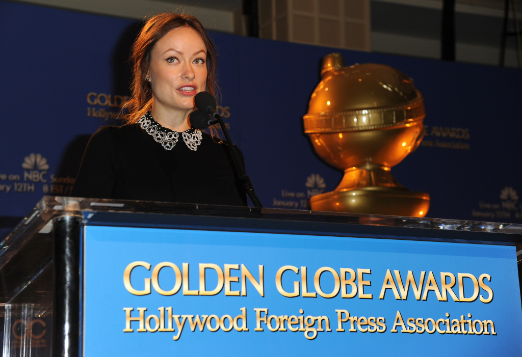 Actress Olivia Wilde reads nominations at the 71st Annual Golden Globe Awards nominations announcement event, Dec. 12, 2013 at the Beverly Hilton Hotel in Beverly Hills. The 71st Annual Golden Globe Awards will take place Jan. 12, 2014.