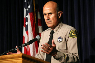 Sheriff Lee Baca holds a press conference regarding the Paris Hilton case at the Los Angeles Sheriffs Department June 8, 2007 in Monterey Park, California.