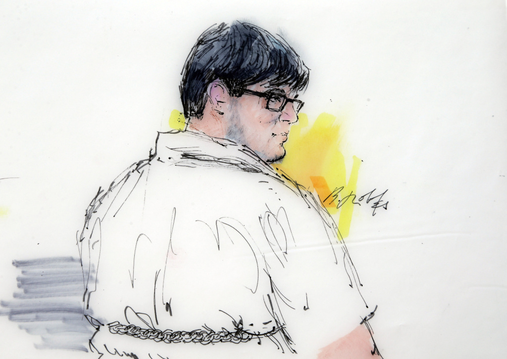 In this Dec. 21, 2015, courtroom sketch, Enrique Marquez Jr. appears in federal court in Riverside, Calif. Marquez has pleaded not guilty to conspiring with one of the San Bernardino shooters and to providing material support to terrorists. In a Friday filing in federal court, his attorneys say there's too much evidence involved to make a July trial practical or fair to their client.