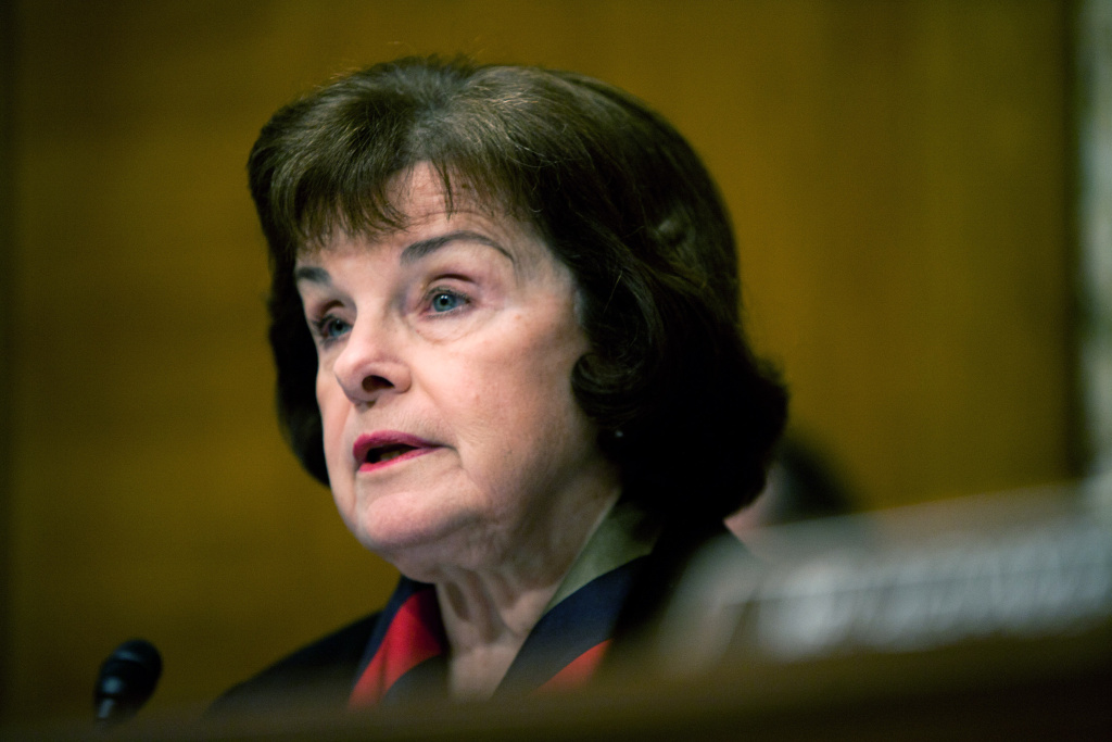 File: Sen. Dianne Feinstein (D-CA) questions witnesses at a hearing on Capitol Hill on March 30, 2011 in Washington, D.C.