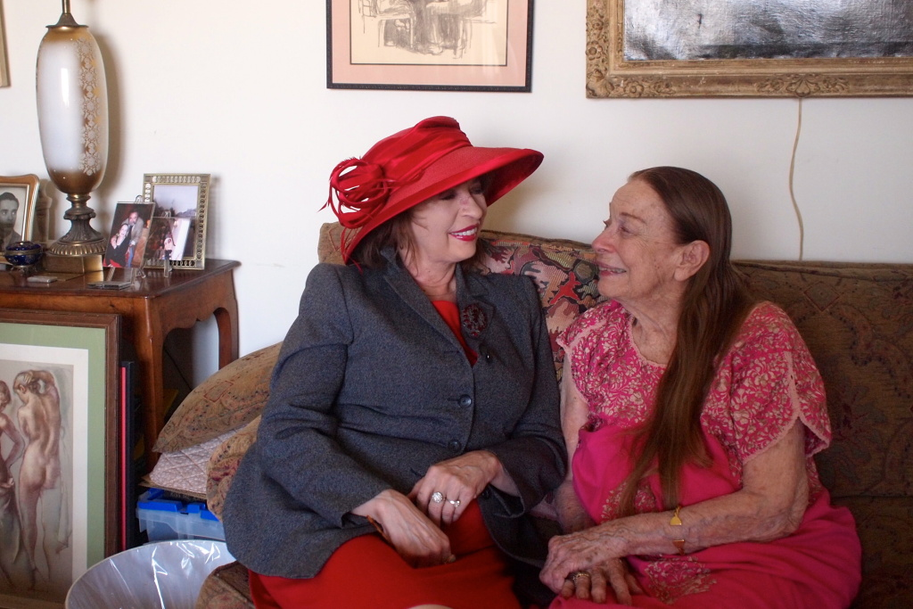 Patt Morrison (left), with actress Patricia Morison at Ms. Morison's apartment in Park La Brea.