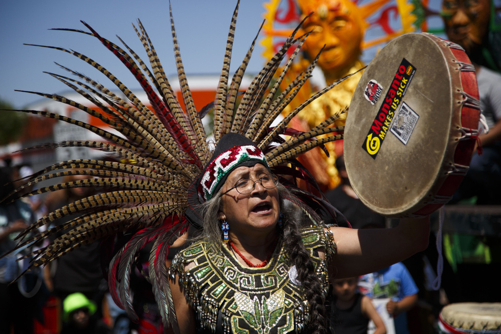 LOS ANGELES, CA - APRIL 29: Native Americans perform a tribal ceremony before a peace rally at the intersection of Florence and Normandie, on the 25th anniversary of the LA riots, on April 29, 2017 in Los Angeles, California. Florence and Normandie was the flashpoint for the riots that was sparked by the police acquittals in the Rodney King beating. (Photo by Warrick Page/Getty Images)