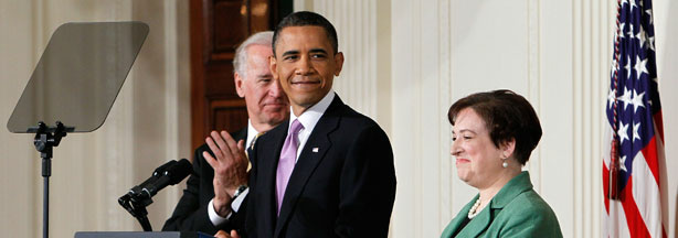 U.S. President Barack Obama (C) is joined by Vice President Joe Biden (L) while introducing Solicitor General Elena Kagan as his choice to be the nation's 112th Supreme Court justice during an event in the East Room of the White House May 10, 2010 in Washington, DC.