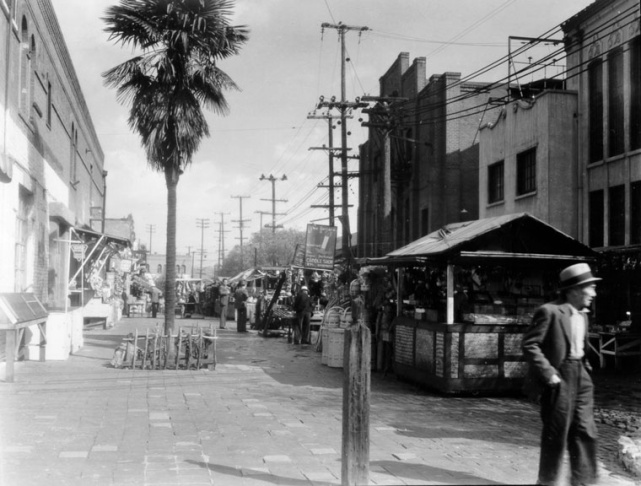 An undated photo of LA's Olvera Street. The palms came early.