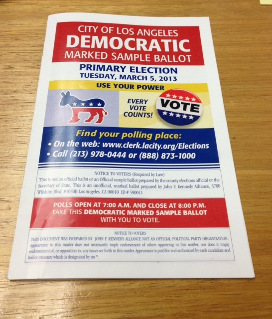 Despite its appearance, this mailer is not affiliated with the Democratic Party. In fact, candidates paid thousands of dollars to appear in the booklet, which was sent to registered Democrats.