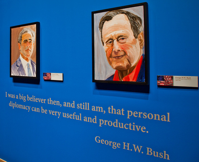 Former President George W. Bush says his favorite from among the portraits he's painted of world leaders is the one he did of his father, former President George H.W. Bush.