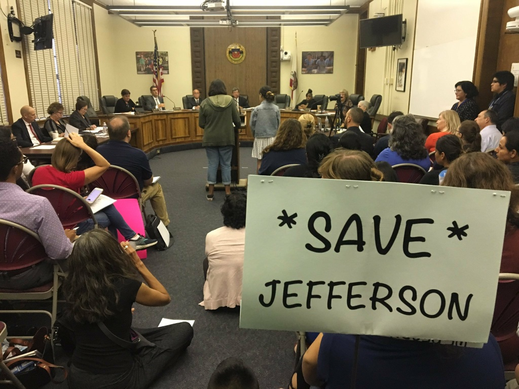Parents gathered at the Sept. 26, 2019 meeting of the Pasadena Unified School District board to speak out against plans to close three elementary schools.