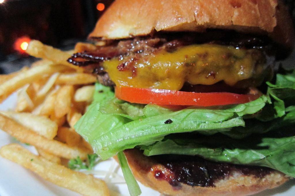 A cheeseburger ar Villains Tavern.