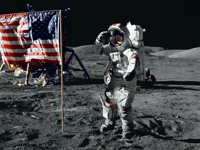 Astronaut Gene Cernan salutes the U.S. flag during his moonwalk in 1972. No one else has been there since Apollo 17 left.