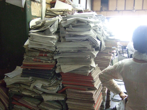Papers have piled up in a city office in Delhi.
