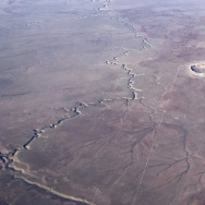 The Meteor Crater near Winslow, Arizona, is seen from a plane Januray 30, 2017.