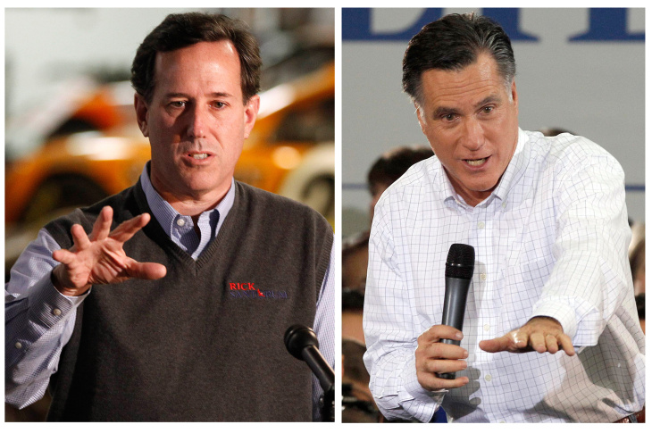A Dec. 31, 2011 file photo Republican presidential candidate, former Pennsylvania Sen. Rick Santorum, left,  speaks during a campaign appearance in Knoxville, Iowa.  In a Jan. 2, 2012 file photo Republican presidential candidate former Massachusetts Gov. Mitt Romney speaks during a campaign stop in Clive, Iowa.