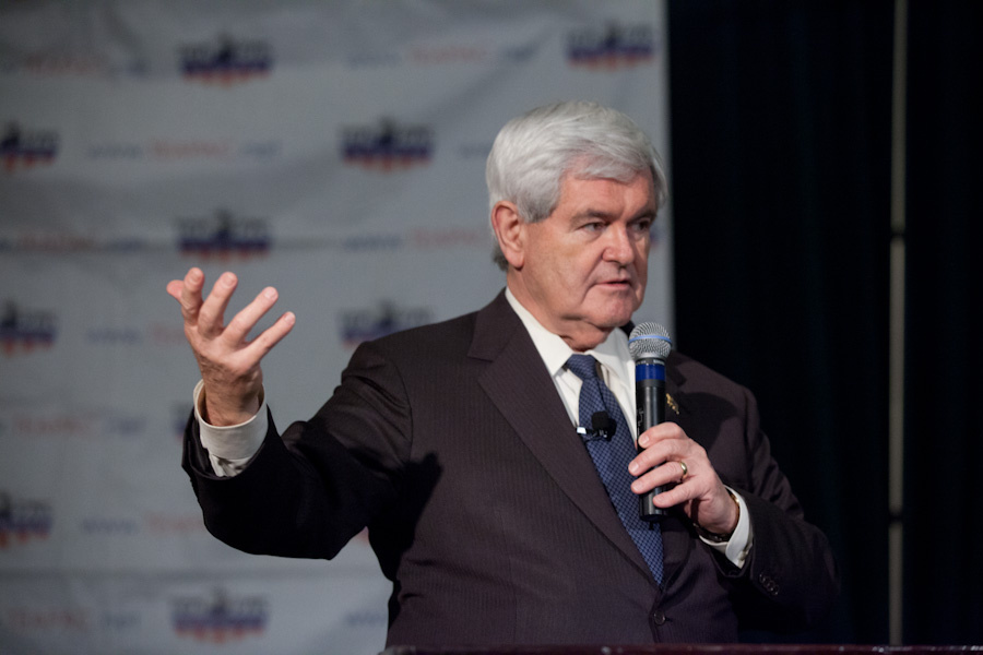 Presidential hopeful Newt Gingrich speaking at Pasadena's TeaPAC's Townhall Series in the Castle Green Hotel on February 13th, 2012. This past weekend, Gingrich was received warmly at the bi-annual California Republican Convention in the Bay Area.