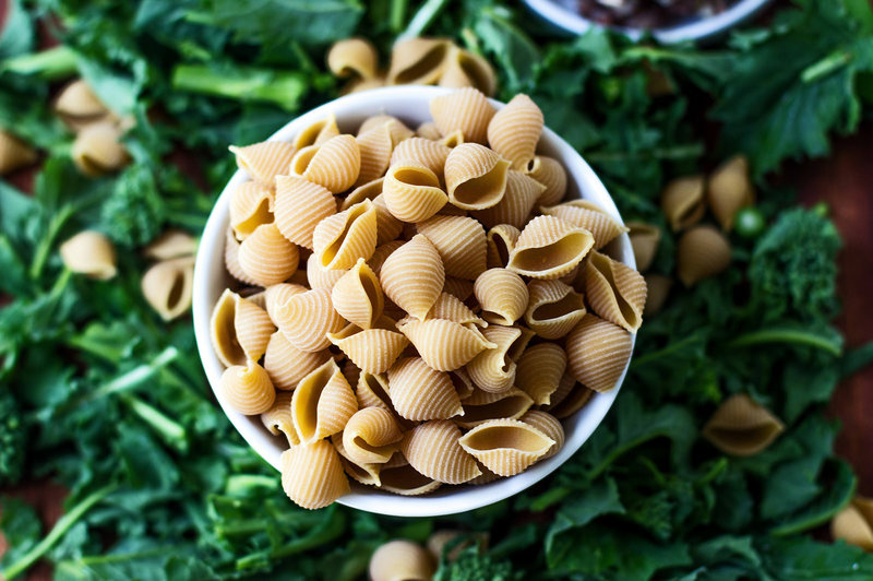 Not just for hummus — here chickpeas serve as the base for a delicious pasta.